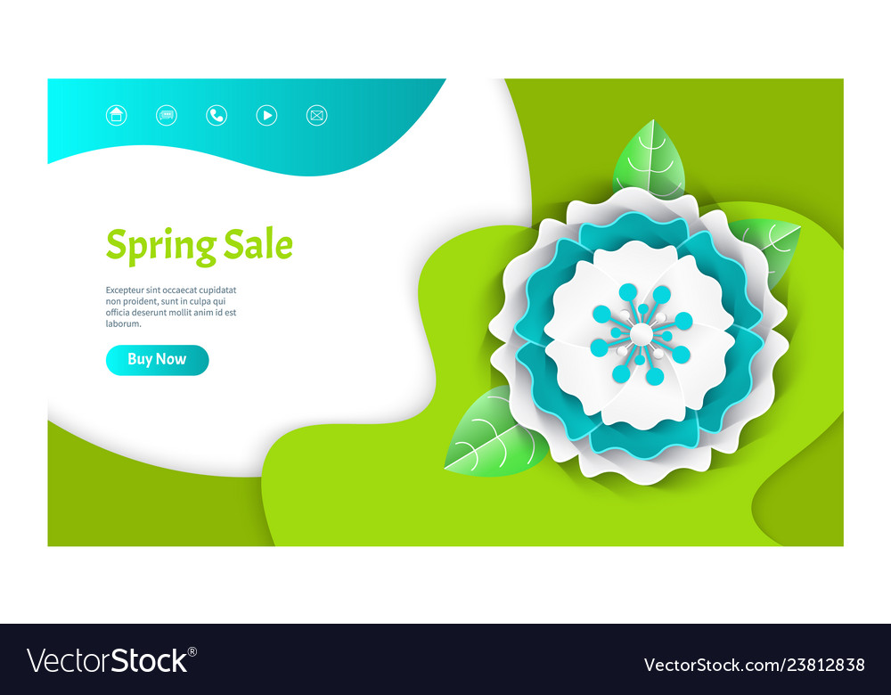 Spring sale web page decorated by flower