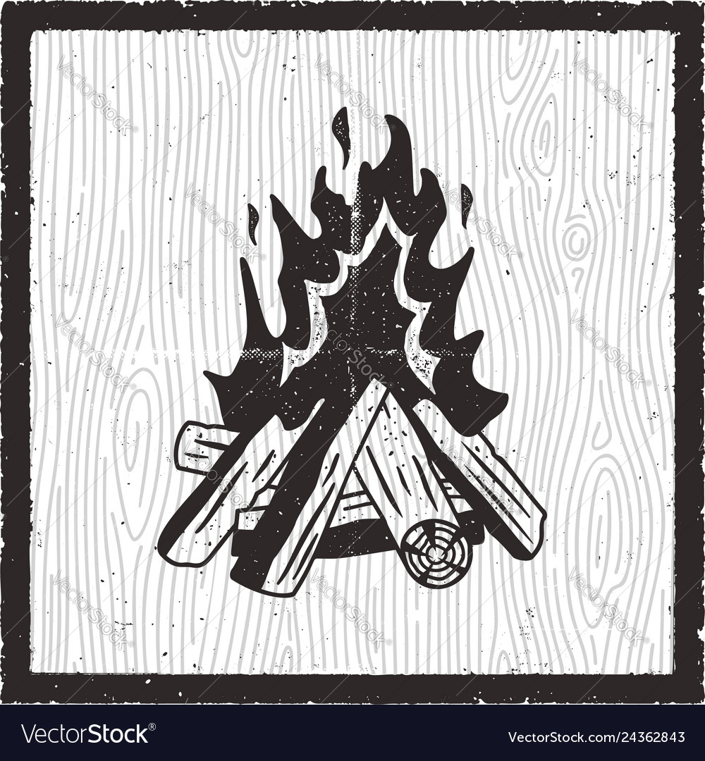 Camp fire hand drawn card vintage monochrome