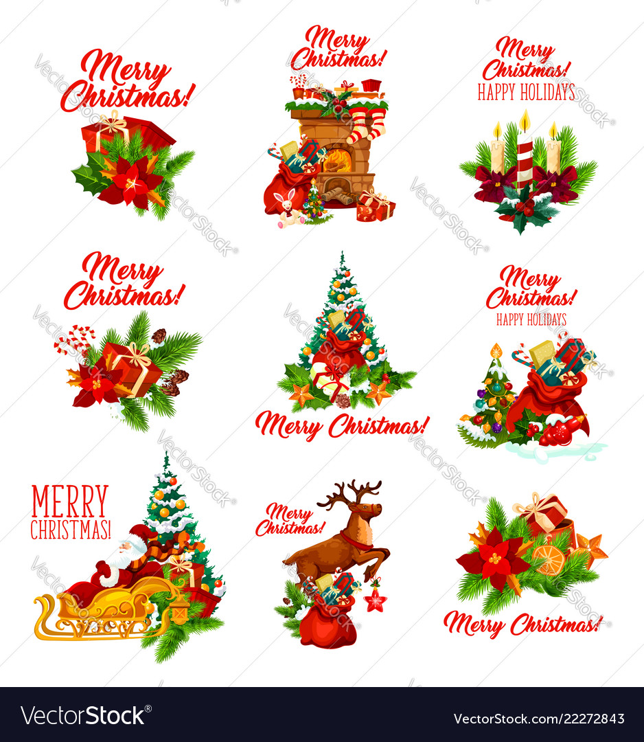 Christmas holidays wish and greeting icons