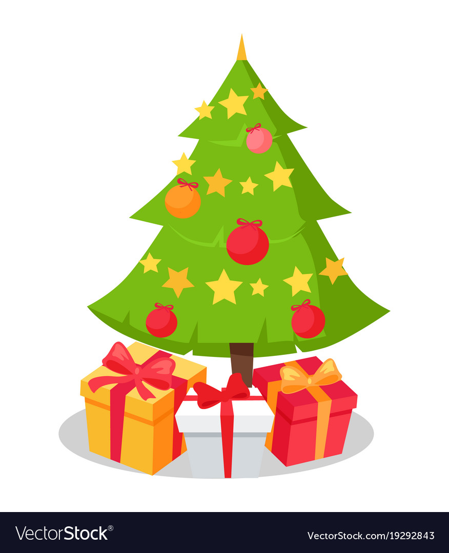 Christmas Tree Icon.Christmas Tree Icon Decorated By Star Shape