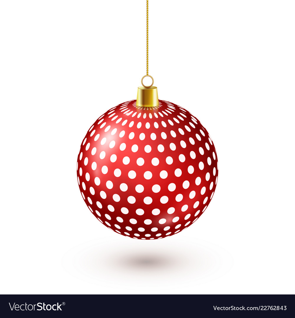 Christmas tree shiny red ball new year decoration