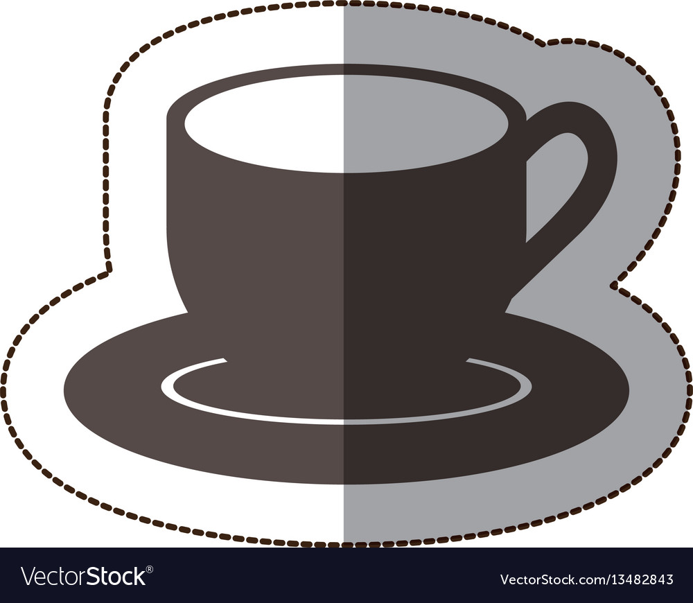Contour coffee cup and plate icon