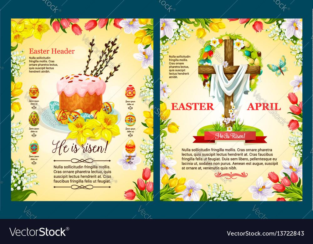 Easter Sunday Poster Template Of Egg Cake Cross