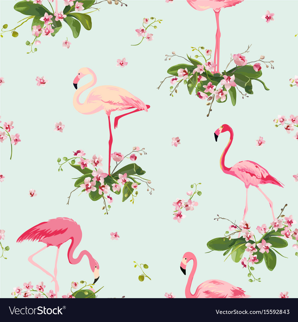 Vintage Style Tropical Bird And Flowers Background: Flamingo Bird And Tropical Flowers Background Vector Image