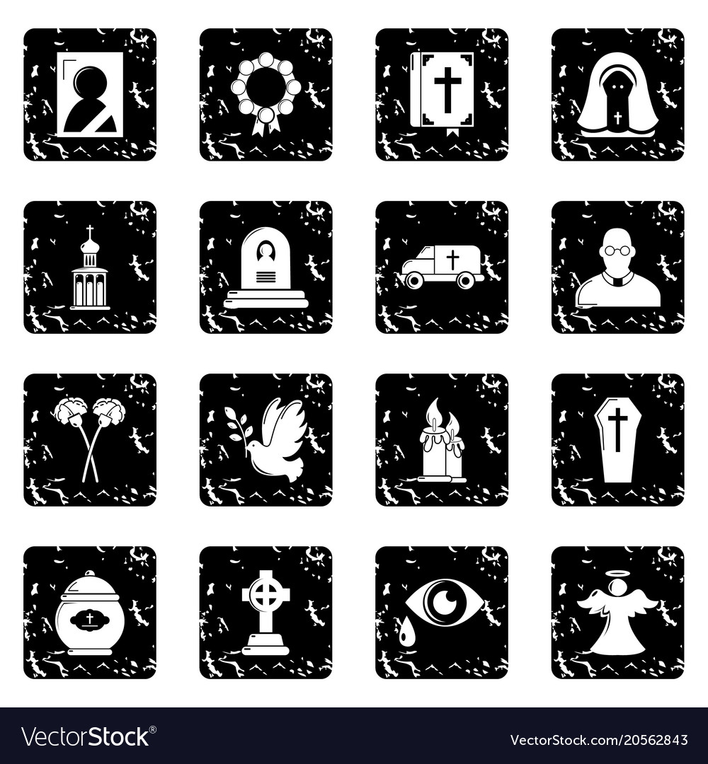 Funeral ritual service icons set grunge vector image
