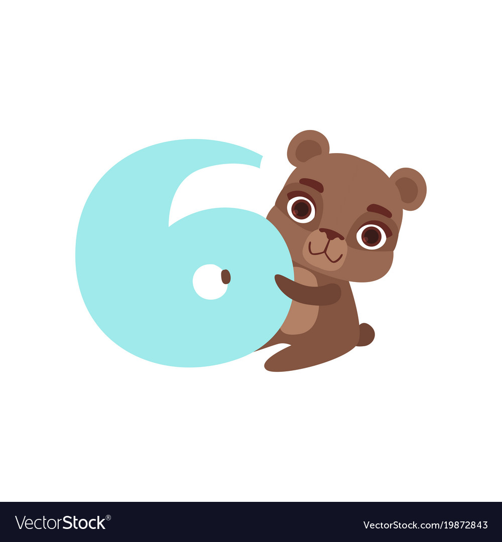 Funny cute brown bear animal and number six