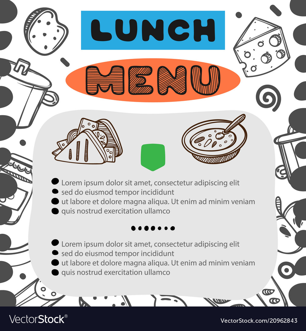hand drawn menu for cafe with lunch menu template vector image