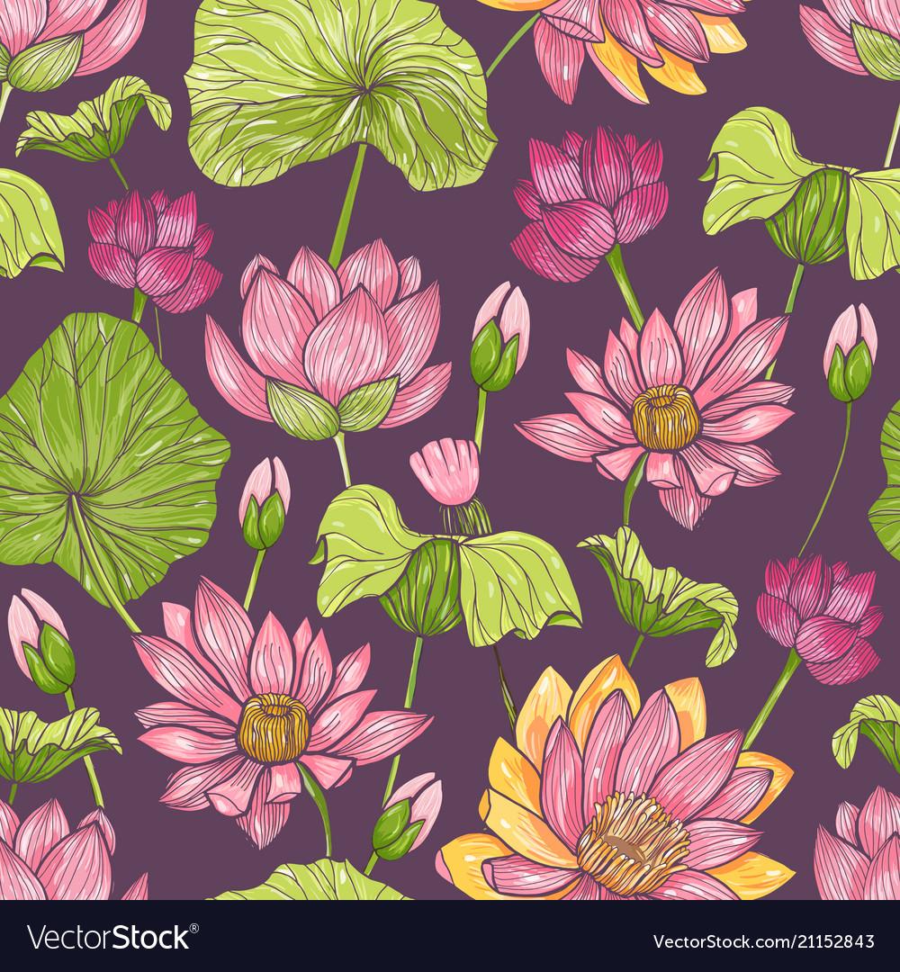 Natural seamless pattern with beautiful pink