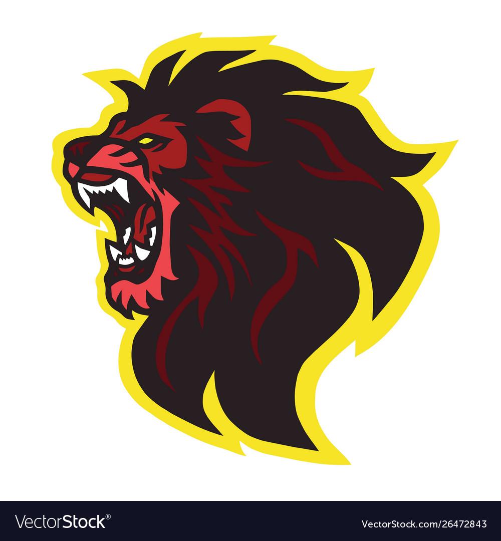 Roaring lion head logo design