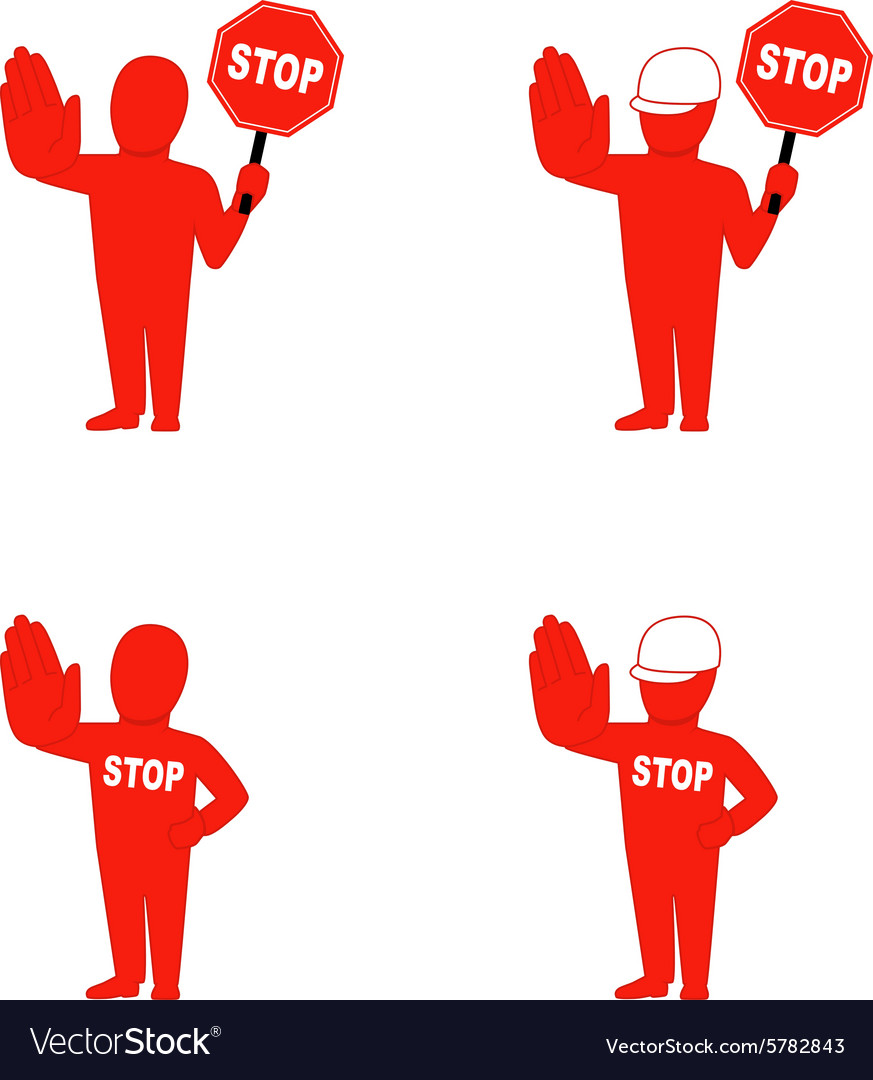Set of flat icons denoting stop vector image