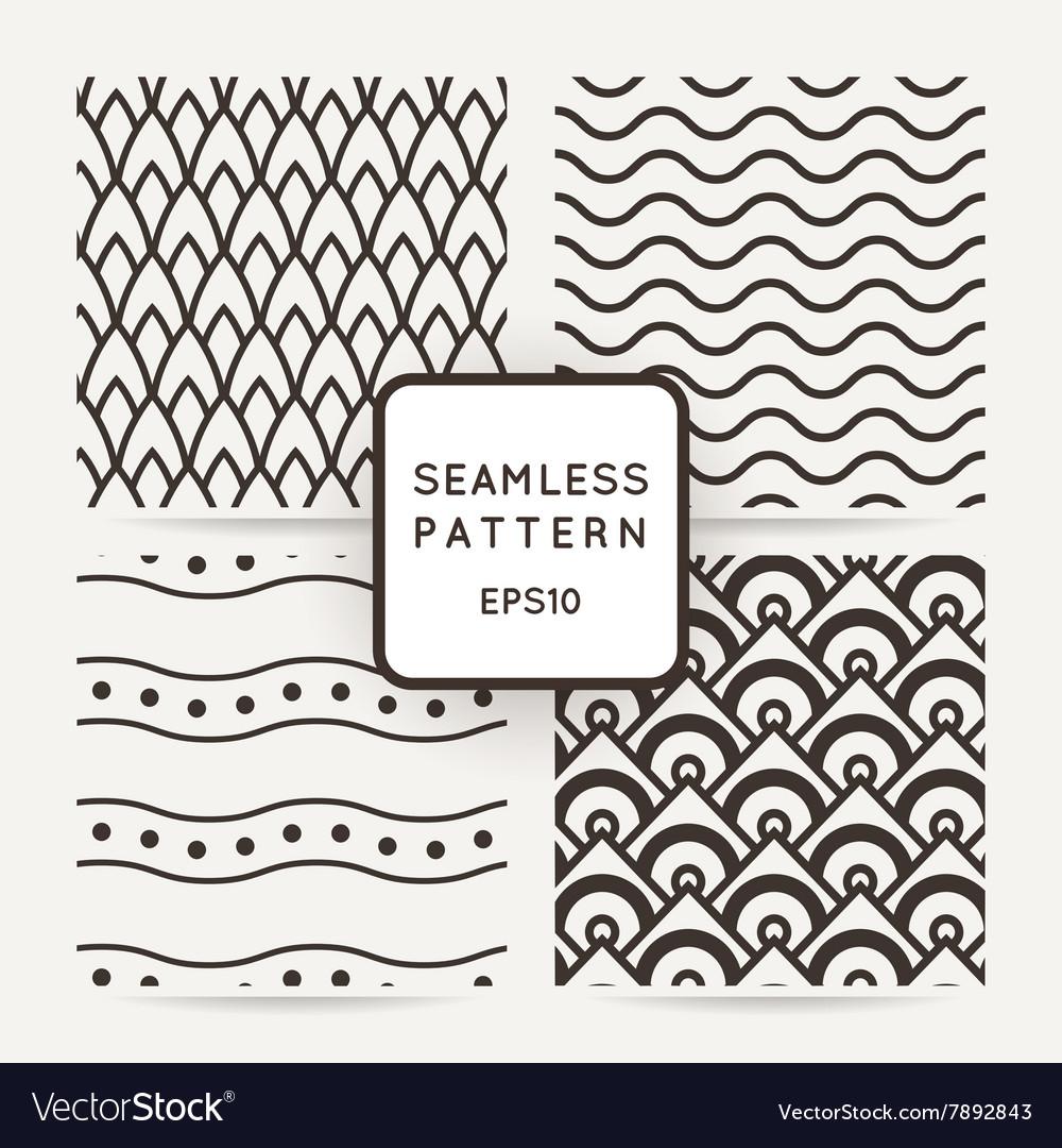 Set of four geometric seamless pattern