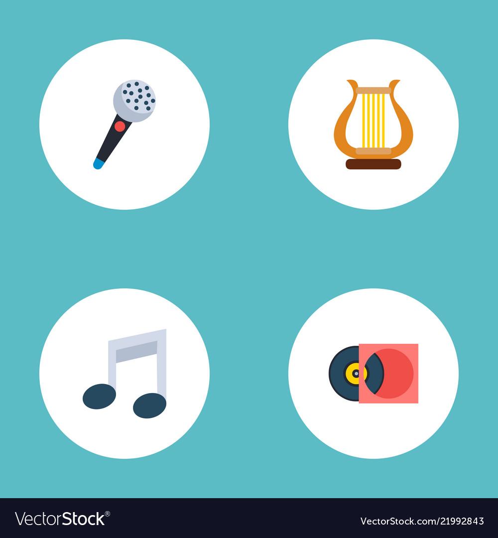 Set of music icons flat style symbols with vinyl