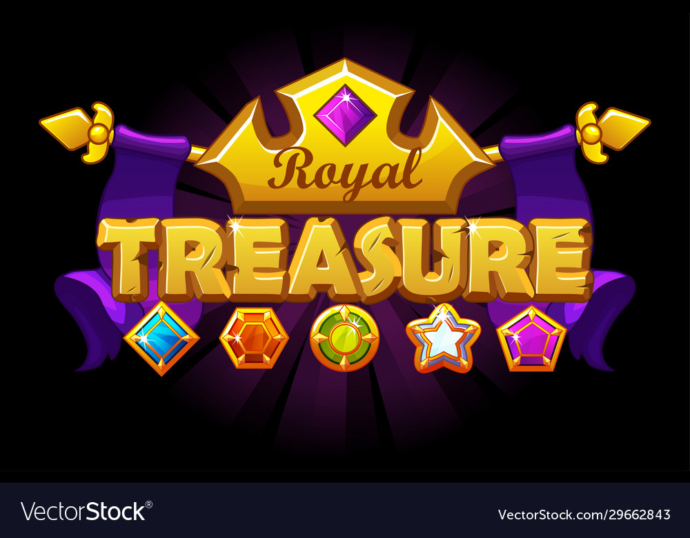 Treasure logo banner with golden crown and gem