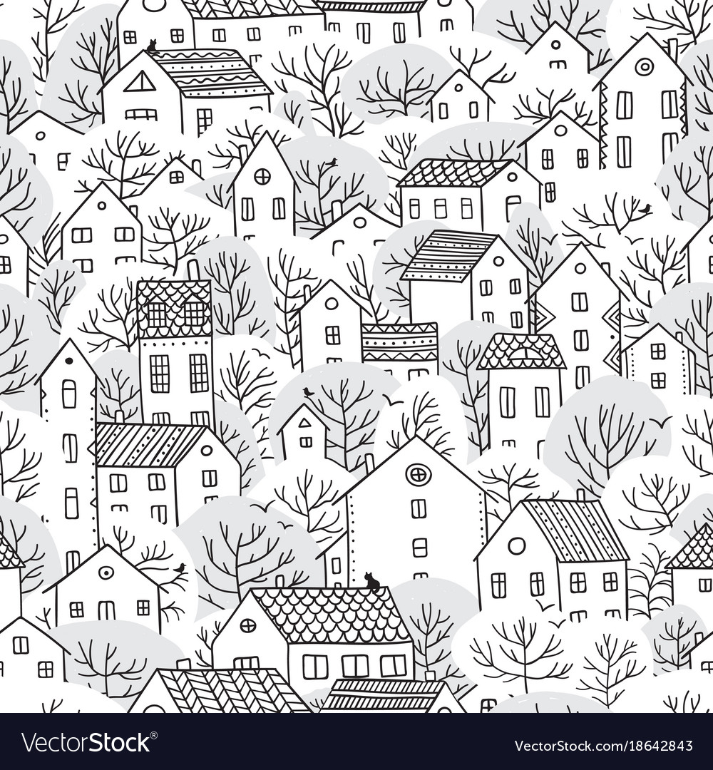 Trees and houses seamless pattern winter