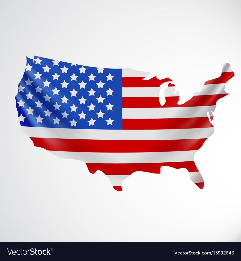 Usa flag in form of map united states of america