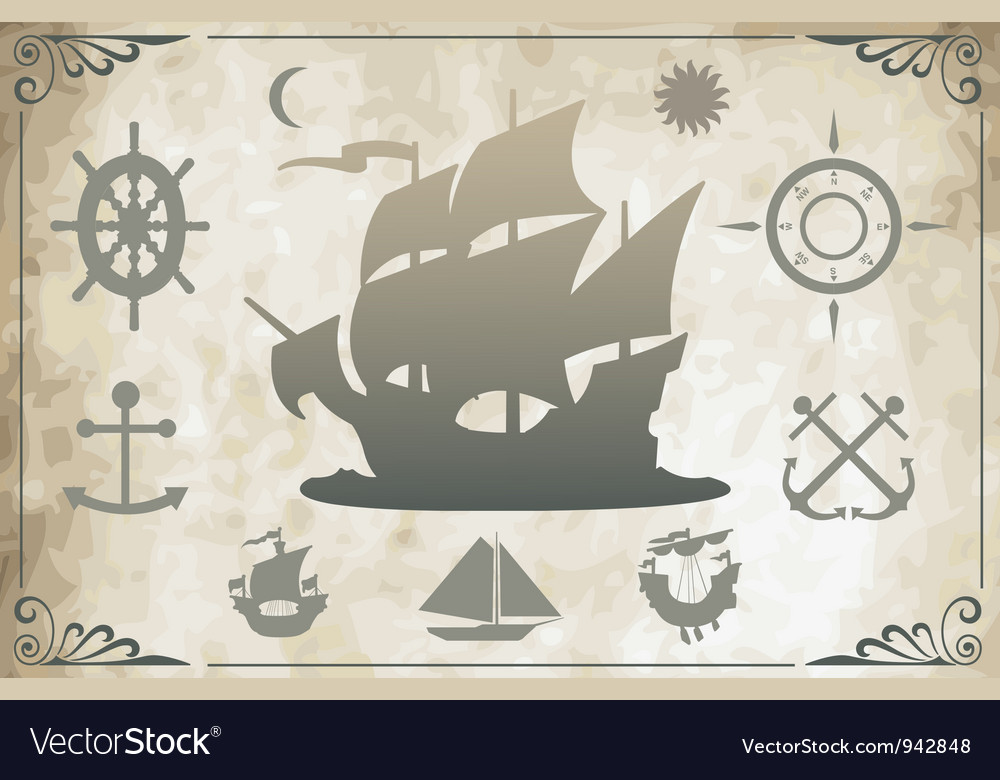 Ancient ships vector image