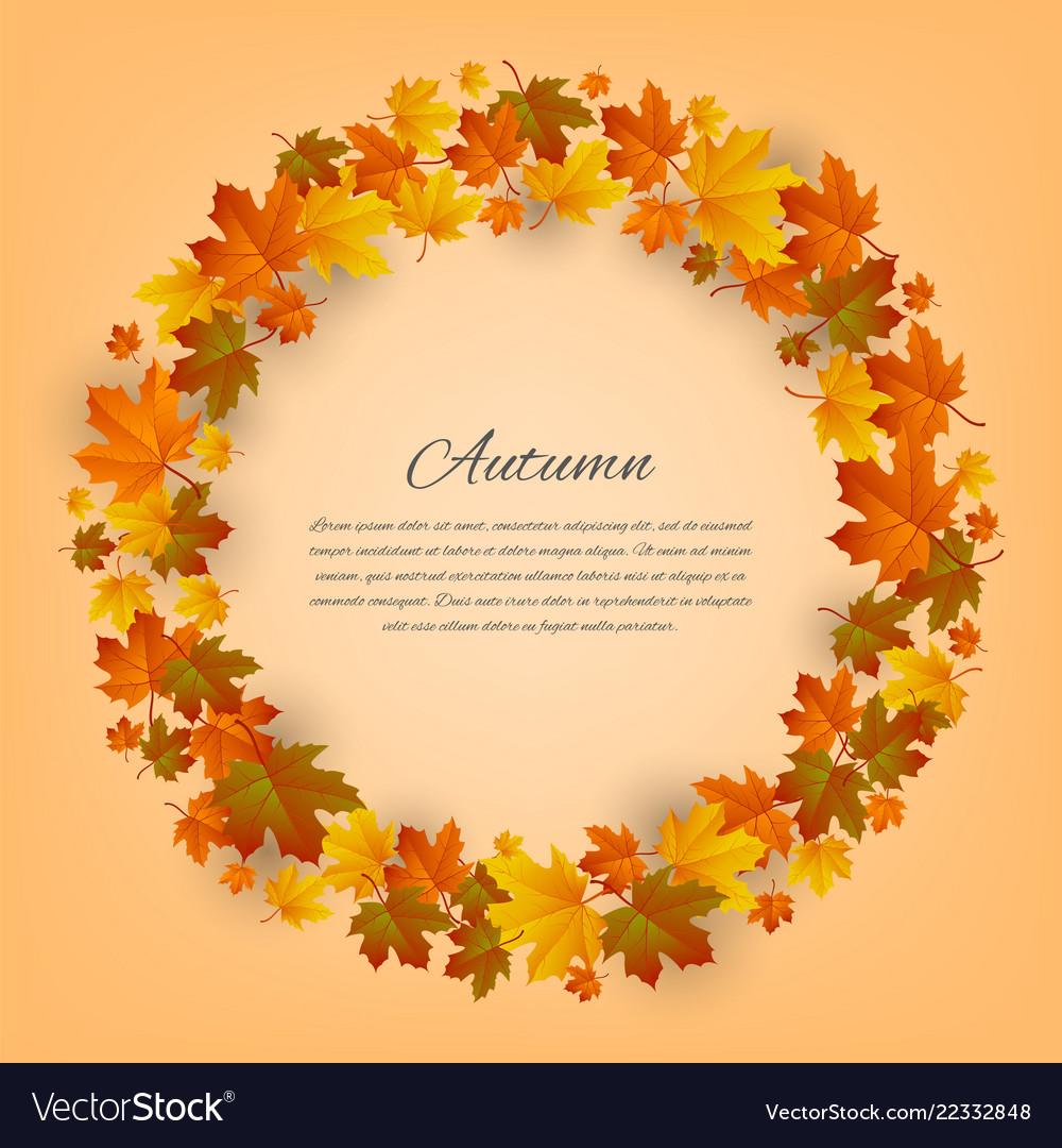 Autumnal round frame background with maple autumn