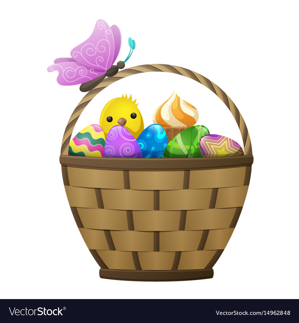 Basket with easter eggs chiken and butterfly
