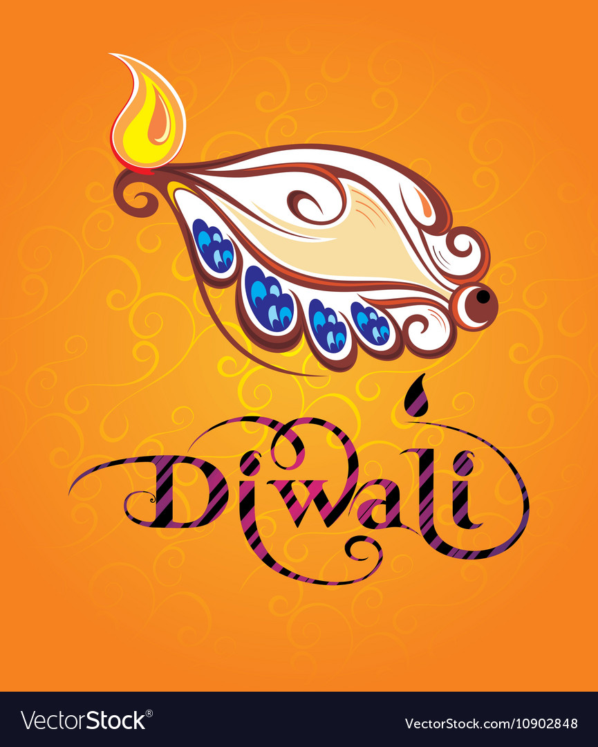Beautiful greeting card for festival diwali vector image m4hsunfo