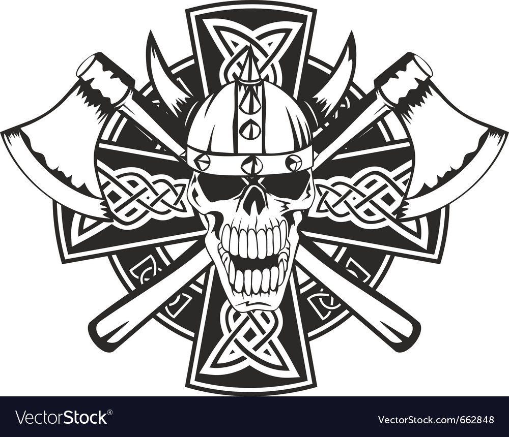 Celtic cross and skull