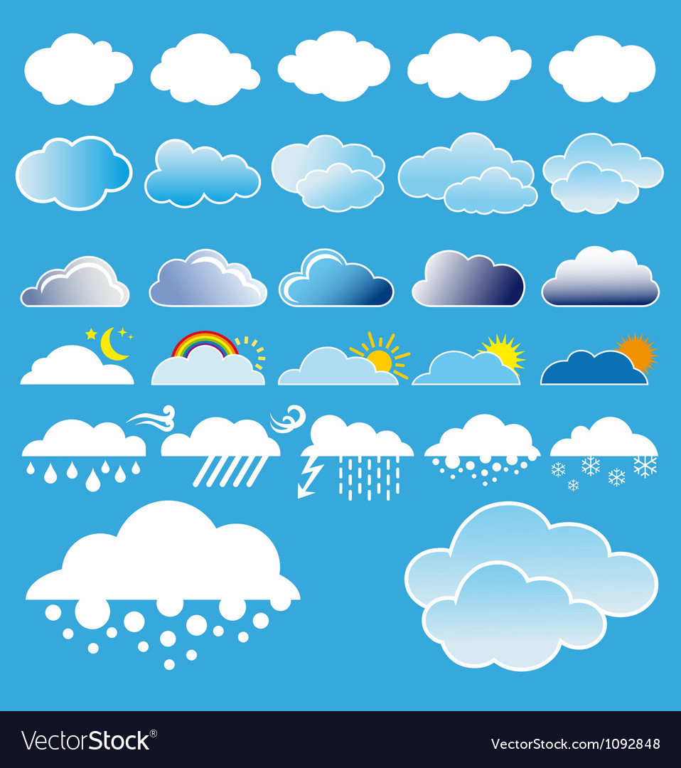 Clouds And Weather Symbols Royalty Free Vector Image