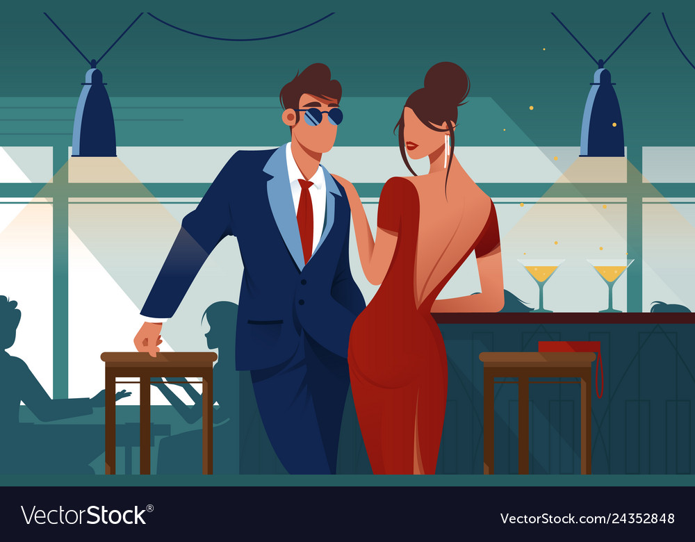 Flat young romantic couple in restaurant on date