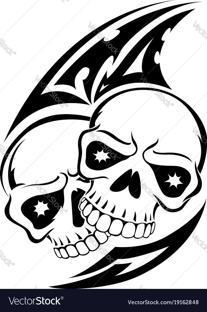 Human Jaw Tattoo: Human Skull Tattoo Vintage Engraving Royalty Free Vector
