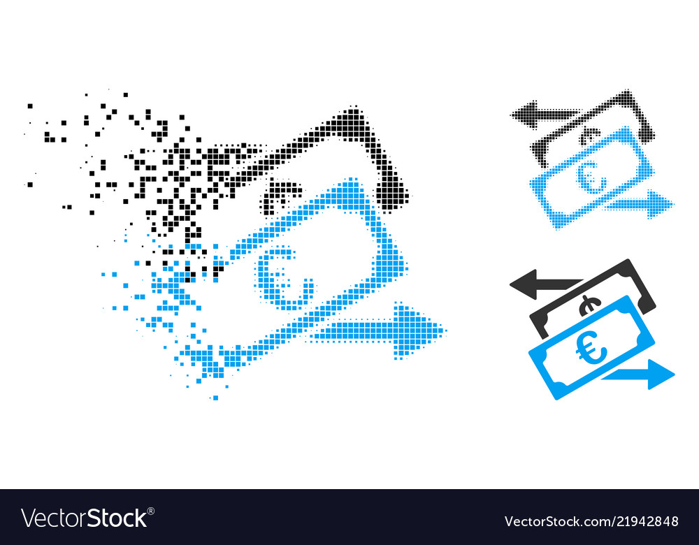 Moving Dotted Halftone Euro Currency Exchange Icon Vector Image