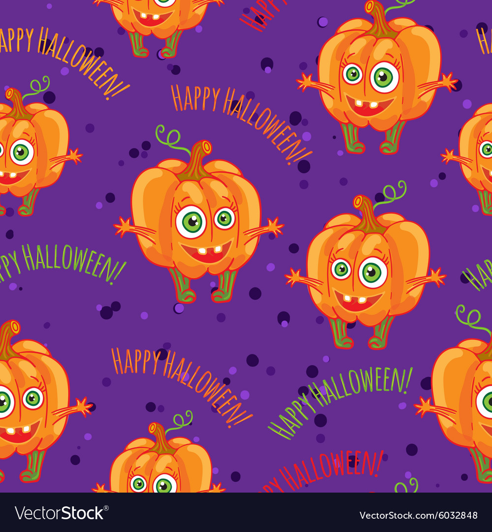 Pumpkins Happy halloween seamless patterns set