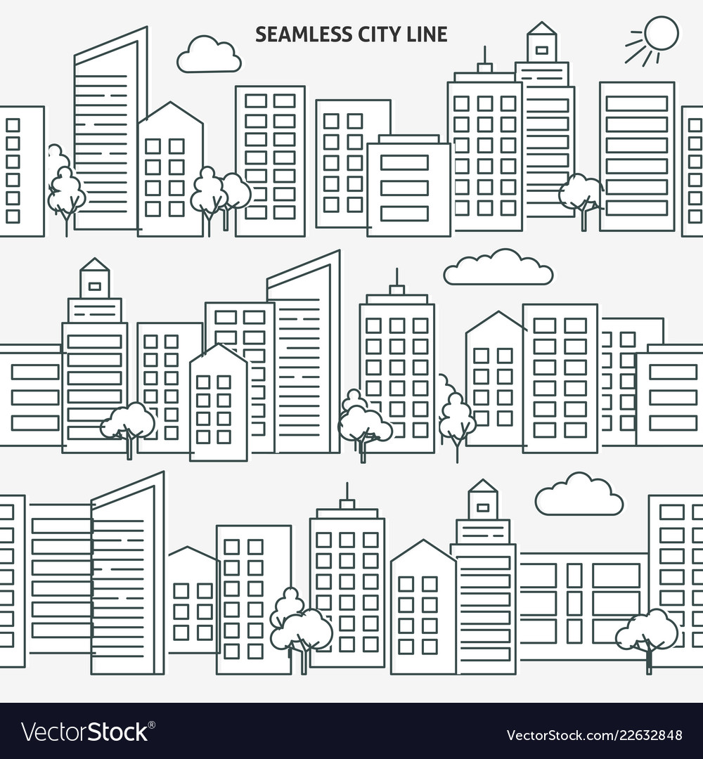Seamless city skyline versions in thin line style