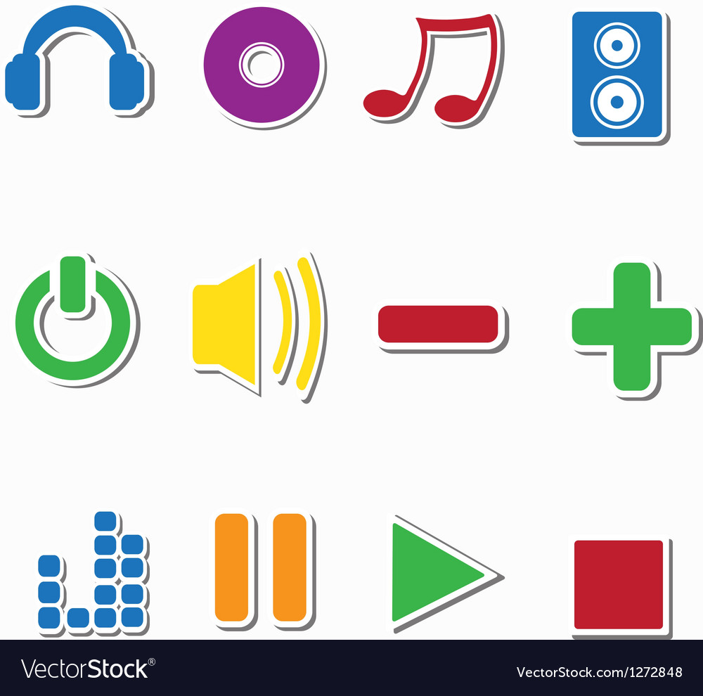 Set of music sticker icons