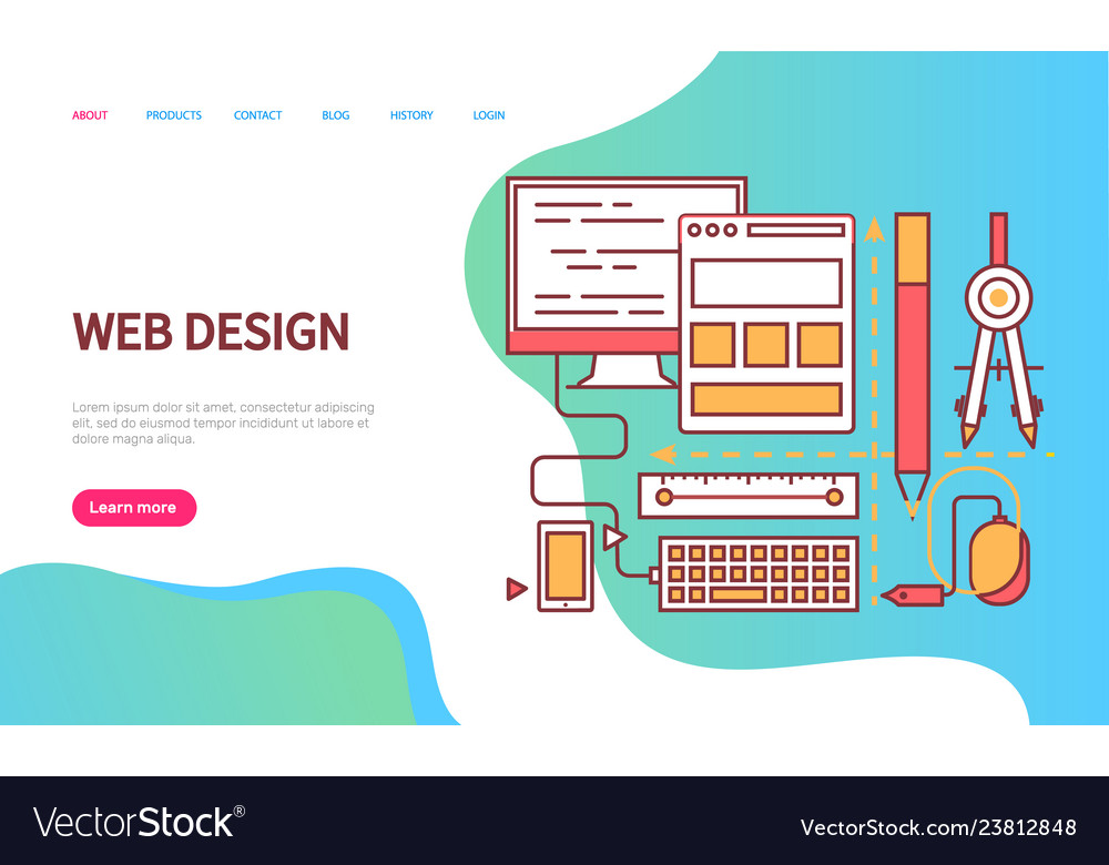 Web design page decorated by device icons