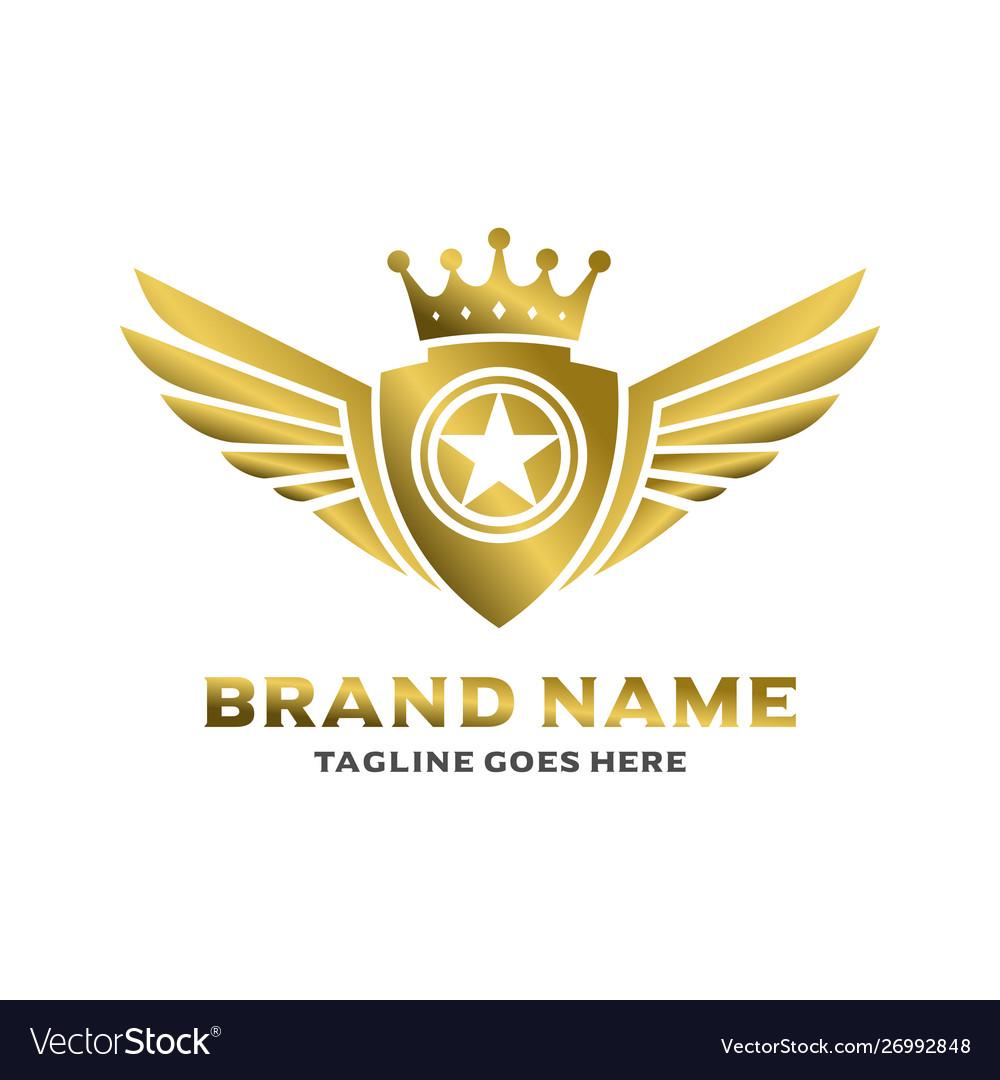 Winged shield logo