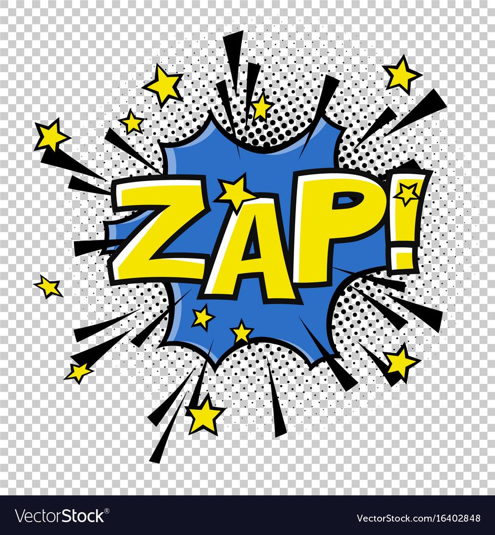 Zap comic sound comic speech bubble halftone vector image