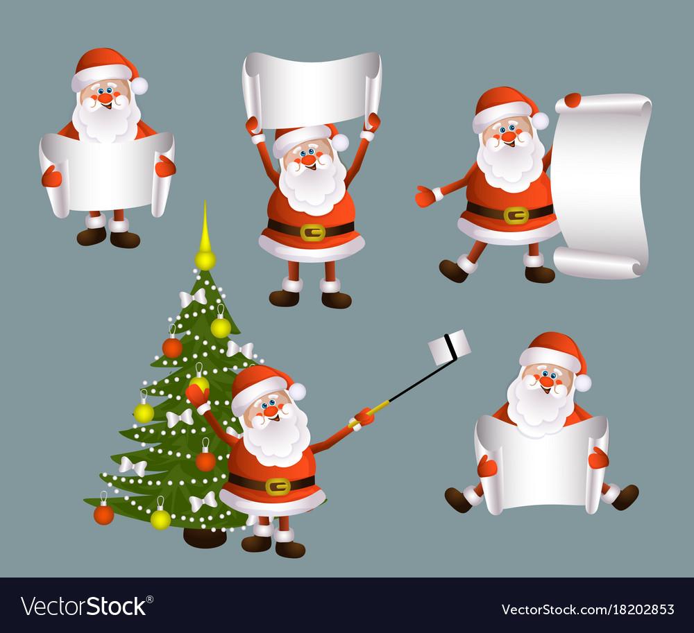 Cartoon set of santa holding blank empty scroll