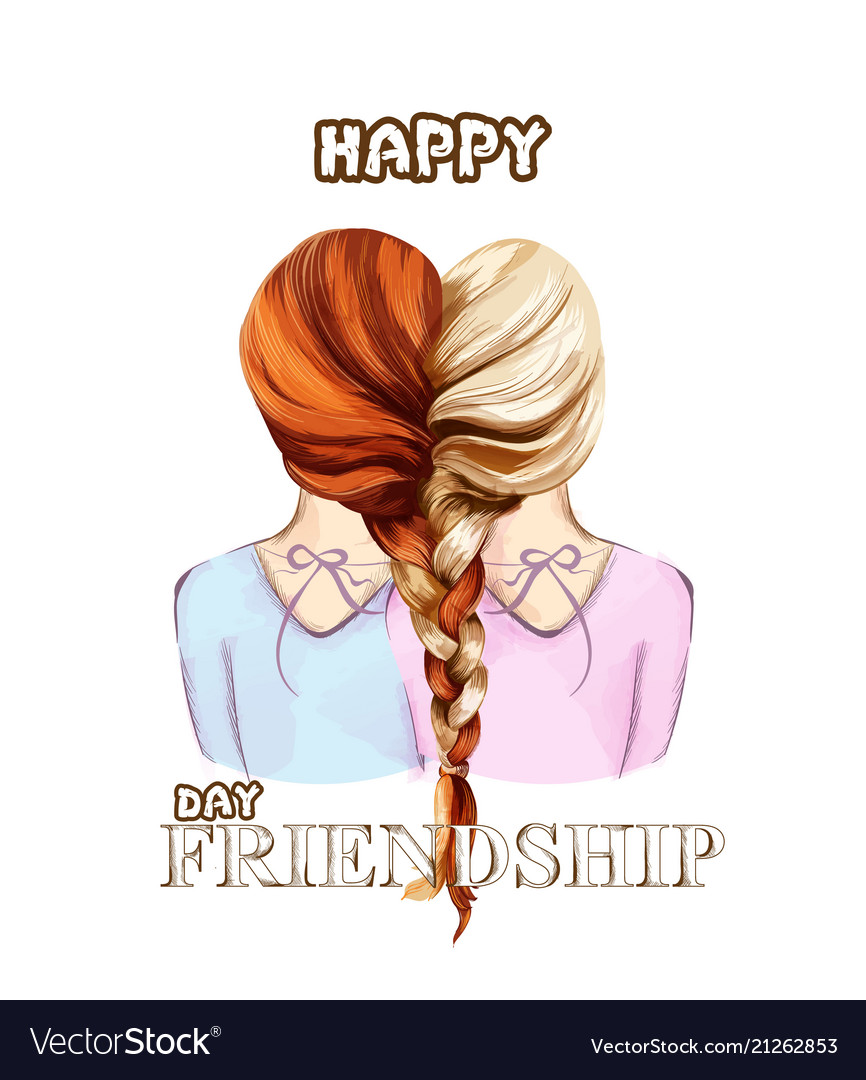 Happy friendship day card two girls united
