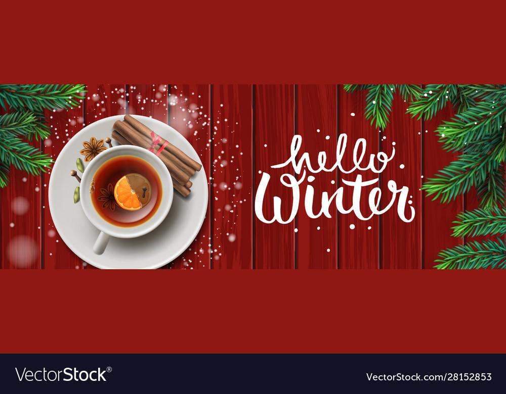 Hello winter horizontal banner christmas tea