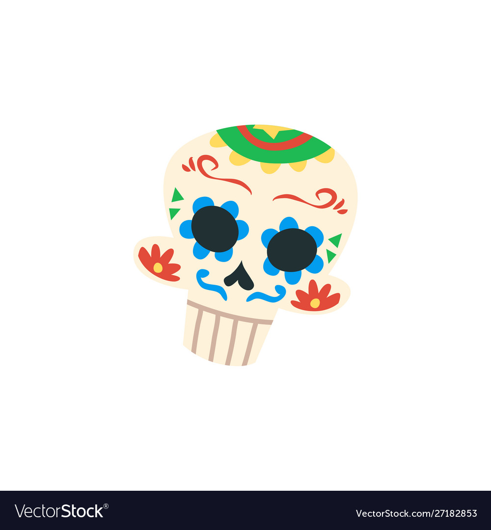 Mexican cartoon skull isolated on white background