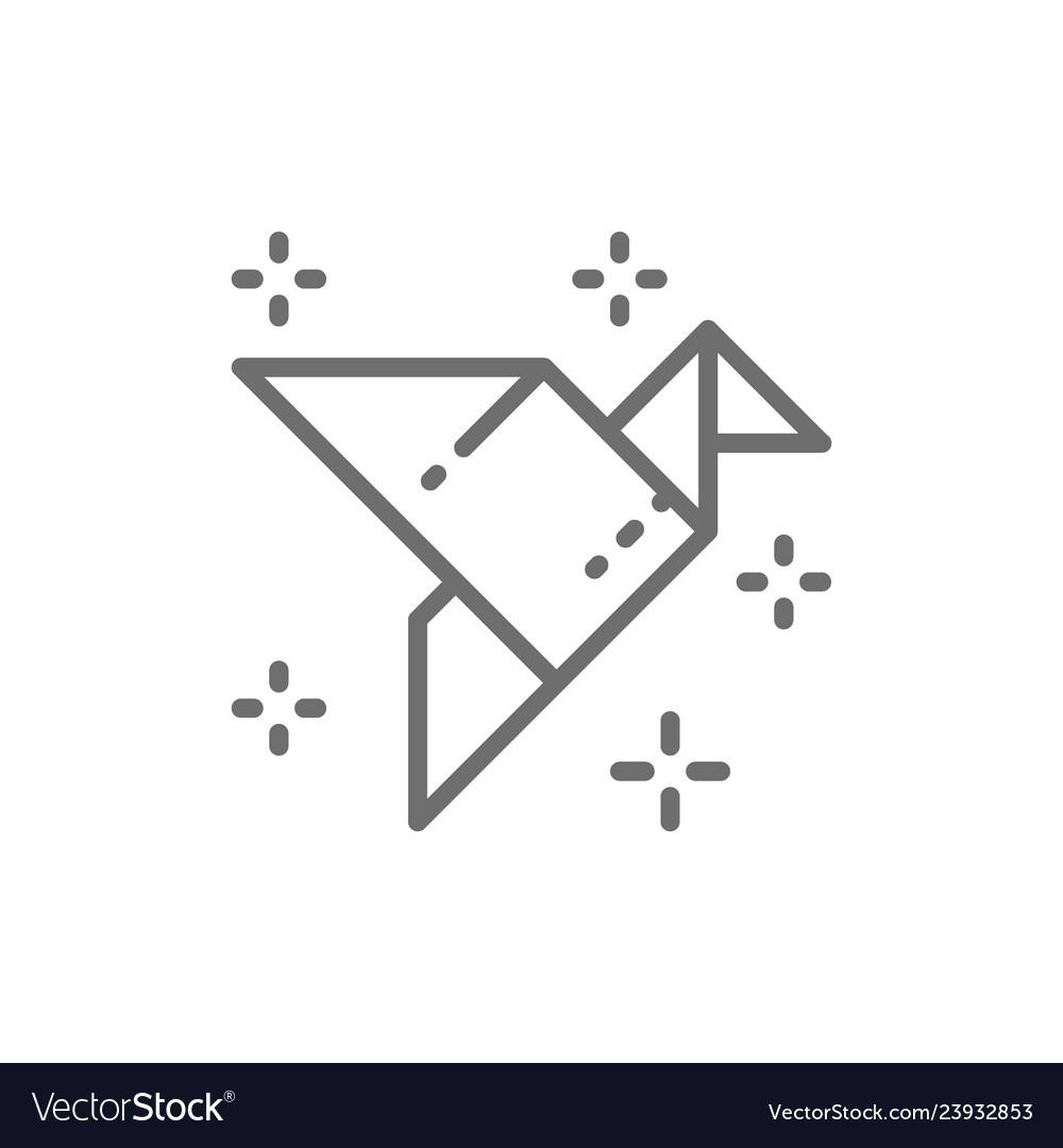 Origami bird paper application crane line icon