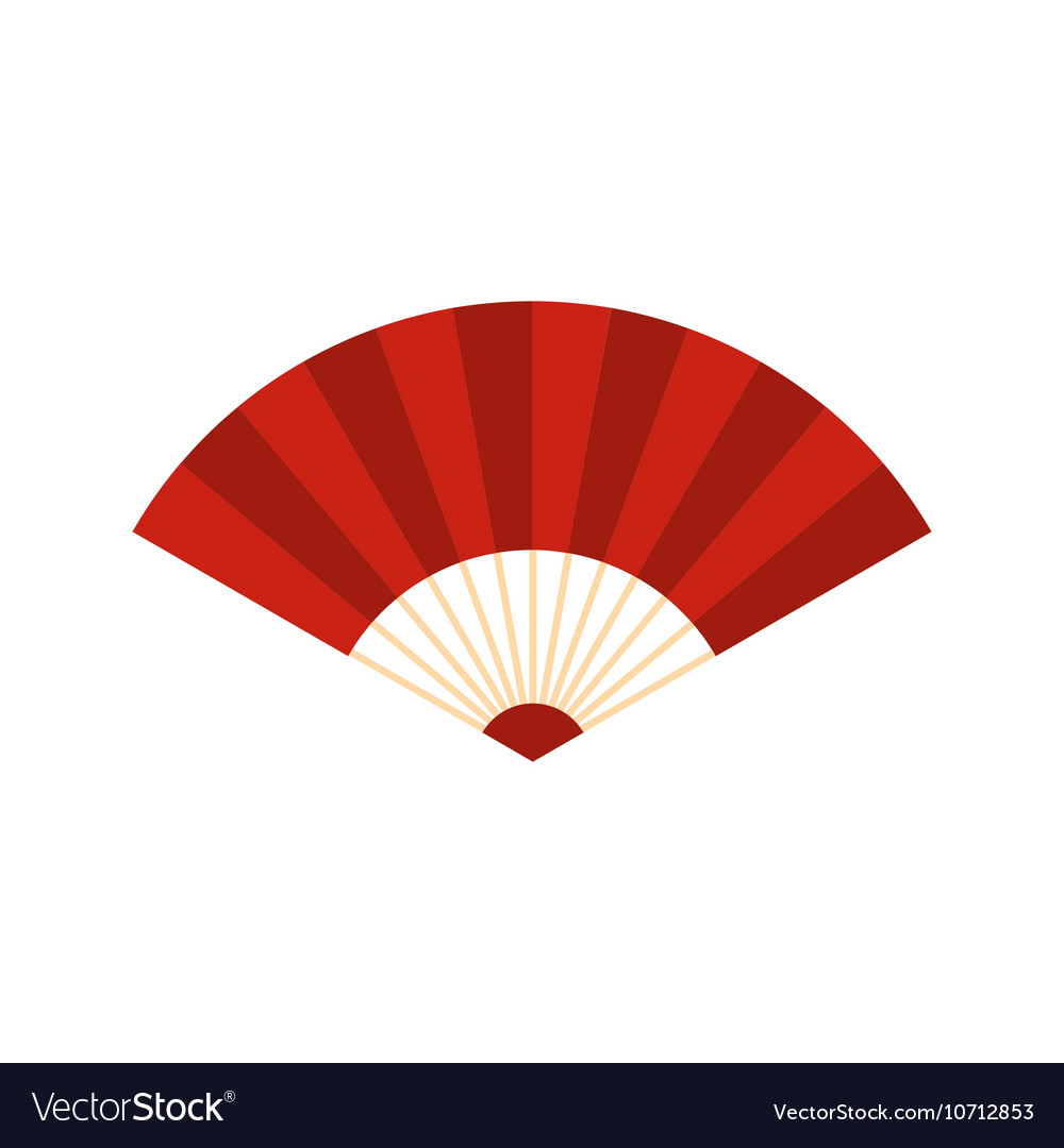 Red japanese fan icon flat style vector image