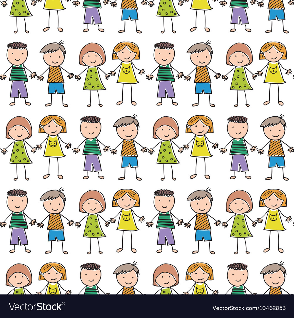 Seamless pattern with of children