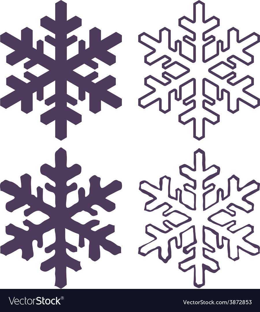 Set of Four Snowflakes thin line ftat design