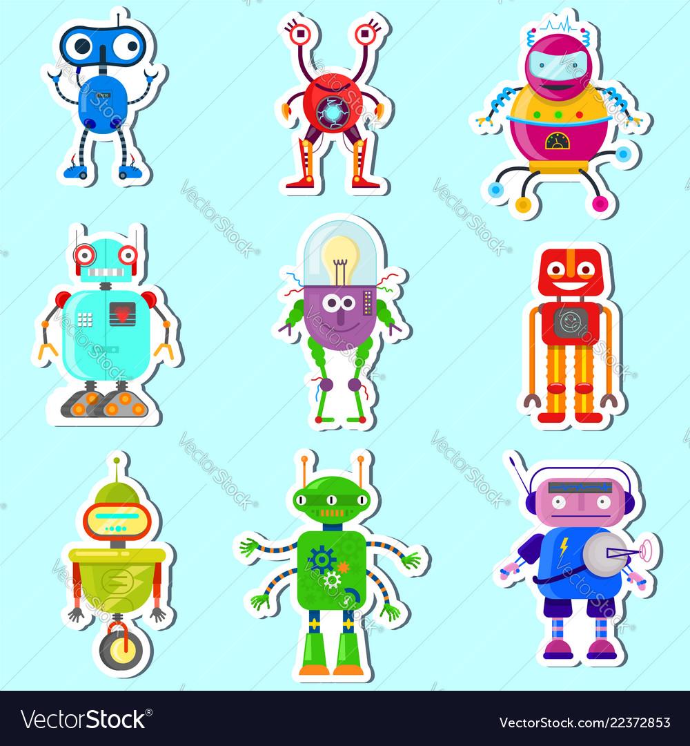 Stickers witn cute robots