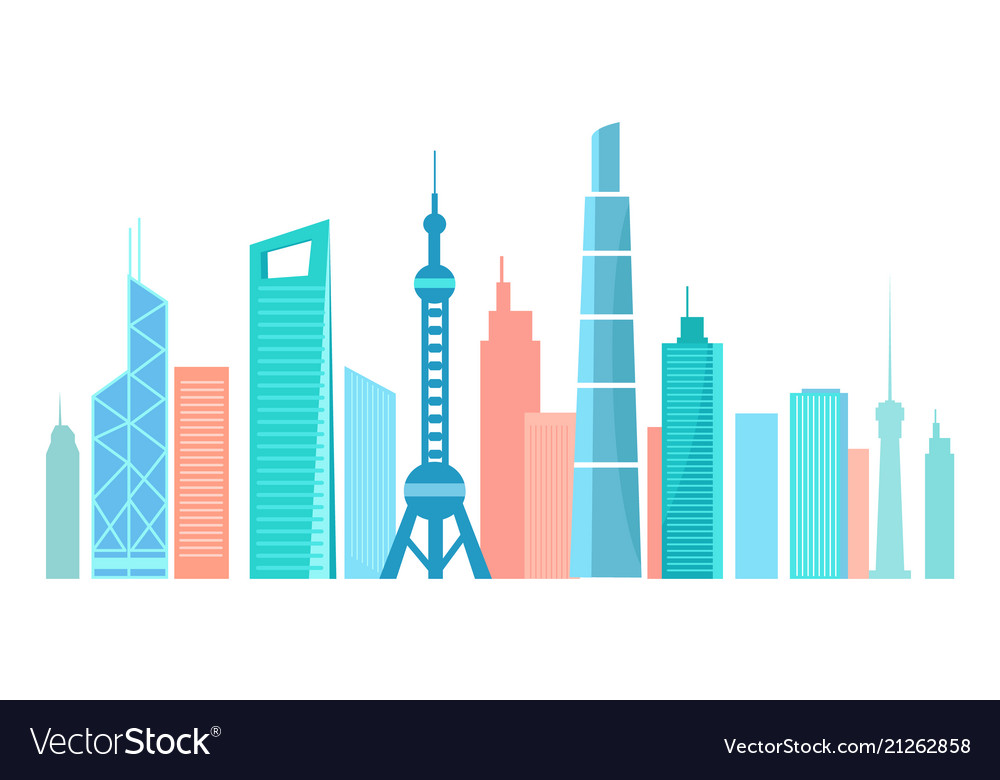 Asian modern city silhouette with high skyscrapes