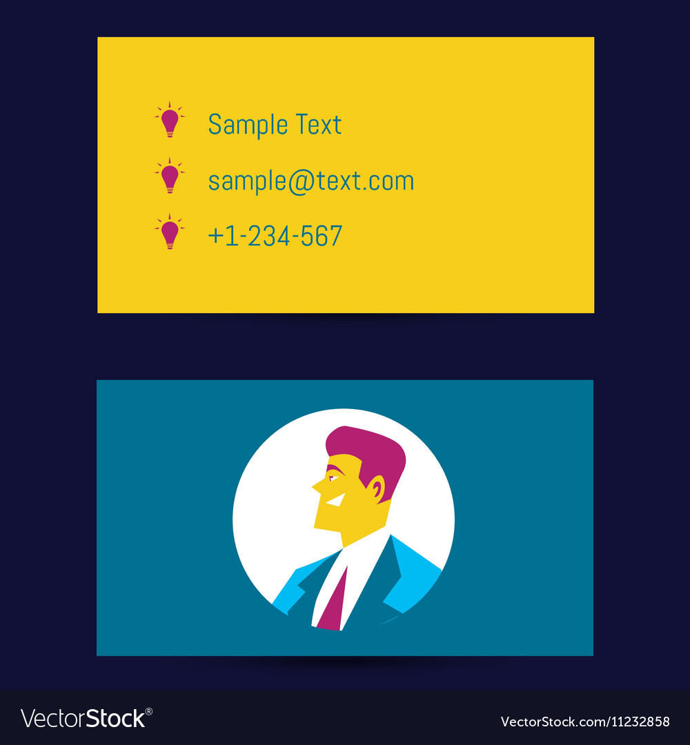 business card template with man avatar royalty free vector