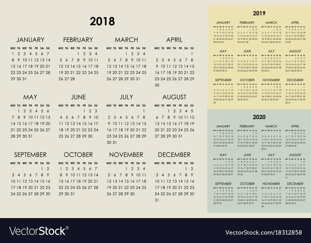 Calendar 2018 2019 2020 years