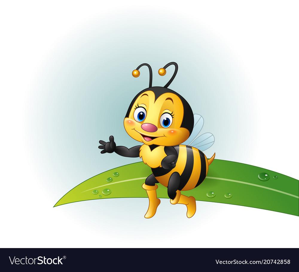 Cartoon bee sitting on a leaf