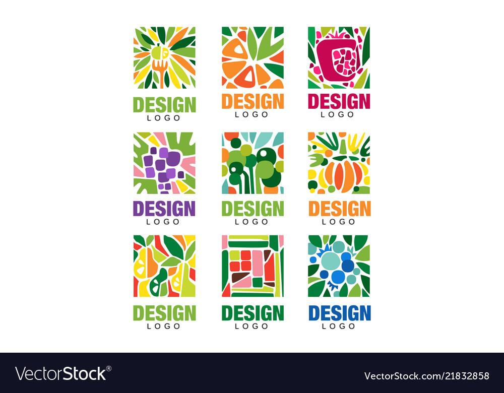 Colorful fruit logos collection original label