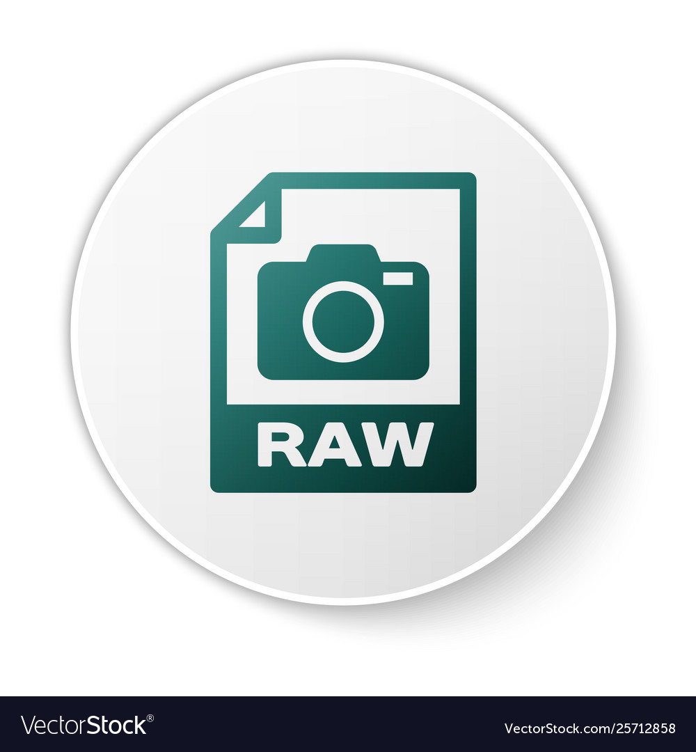 Green raw file document icon download raw button