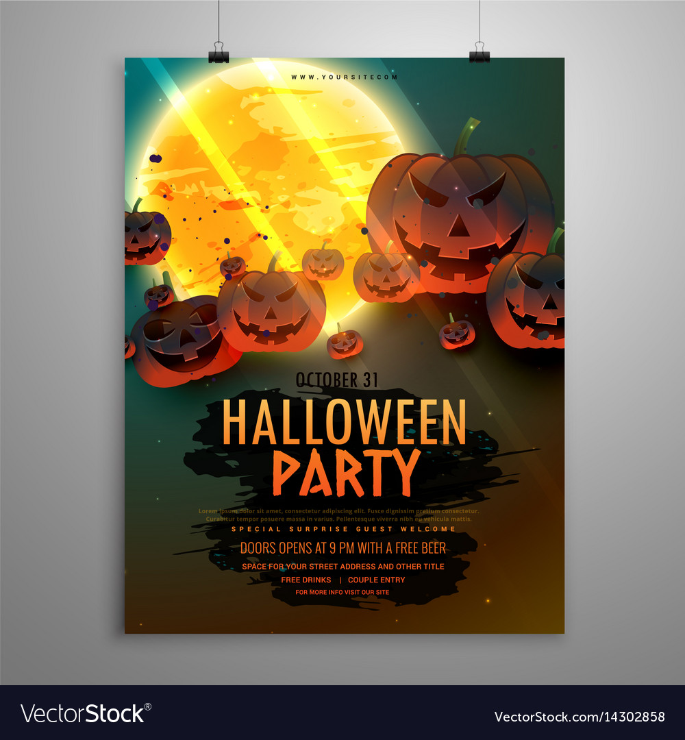 halloween party flyer template royalty free vector image